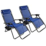 2 Pack Adjustable Folding Zero Gravity Recliner Chairs Lounge Deck Chair With Pillow & Cup Holder for Patio Outdoor Yard Beach (Blue)