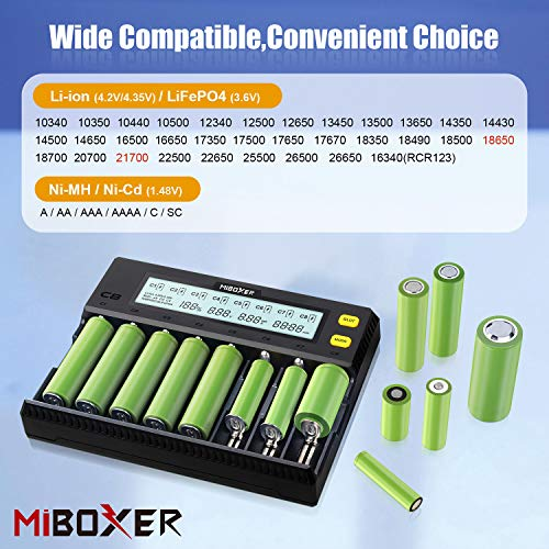 Intelligent AAA battery Charger,LCD Dispay 8 Bay Universal Smart Charger for Rechargeable Batteries Ni-MH Ni-Cd A AA LiFePO4 Li-ion 18650 26650 26500 18490 17670 17670 21700 RCR123 Batteries