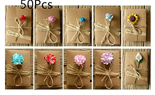 ASIBT 50 Pcs 10 Different Designs with Envelopes,Vintage Kraft Handmade Dried Flowers Thank You Notes Birthday Party Invitation Card Greeting Wish Cards Set