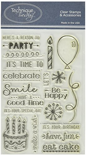 Technique Tuesday a Reason to Party Stamp Set, 4 by 6'', Clear by Technique Tuesday