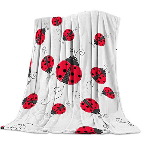 - FortuneHouse8 Flannel Fleece Blanket Red Ladybug Super Soft Warm Cozy Bed Couch or Car Throw Blanket for Children Adult Travel All Reason 40x50inch