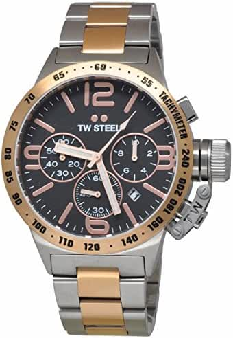 TW Steel CB133 Men's Chronograph Stainless Canteen Two-Tone Bracelet Band Black Dial Watch by TW Steel