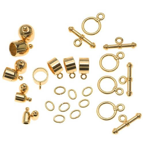 (BeadSmith Gold Plated Bullet Findings For Kumihimo Braids - 4 Assorted)