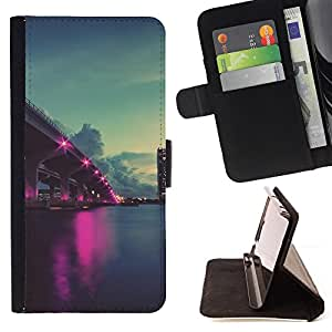 DEVIL CASE - FOR Apple Iphone 6 PLUS 5.5 - Nature Pink City Ligts - Style PU Leather Case Wallet Flip Stand Flap Closure Cover