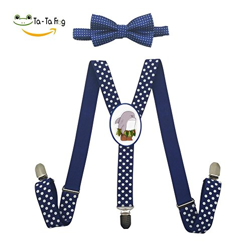 Xiacai Funny Shark Suspender&Bow Tie Set Adjustable Clip-On Y-Suspender Children by Xiacai