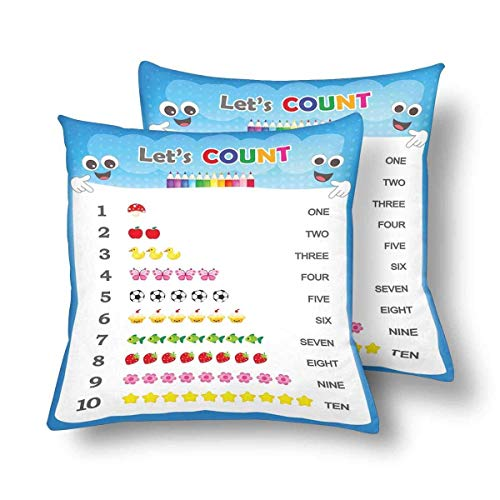 SPXUBZ Numbers Counting Practice Printable Worksheet Pre School Kids Learning Pillow Cover Home Decor Nice Gift Square Indoor Pillowcase Set of 2 (Two Sides) for $<!--$7.88-->