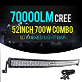 Thenese LED Light Bar 52inch 700w 5D CREE Spot Flood Curved Combo JEEP Truck N12+Wire