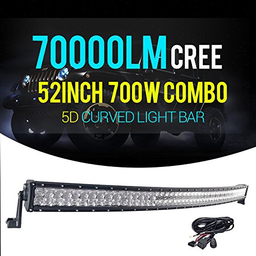 Thenese LED Light Bar 52inch 700w 5D CREE Spot Flood Curved Combo JEEP Truck N12+Wire by Thenese