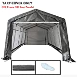 kdgarden Replacement Top Cover for 10x20-Feet 10 Legs Carport Canopy, Garage Tent Storage Shelter Tarp Cover with Ropes, Gray