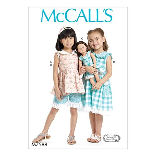 (McCall's M7588CDD Peter Pan Collar Button-Front Top Shorts, and Doll Dress, 2-3-4-5)