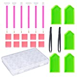Arts & Crafts : OPount 24 Pieces DIY Diamond Painting Cross Stitch Tool Set Including Diamond Stitch Pen, Tweezers, Glue, Plastic Tray and Diamond Embroidery Box for DIY Art Craft