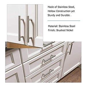 homdiy 3 inch Cabinet Handles Brushed Nickel Cabinet Pulls 15 Pack - HD201SN Cabinet Drawer Pulls Bathroom Cabinet Hardware Metal Drawer Pulls Brushed Nickel Kitchen Hardware for Cabinets
