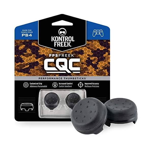 KontrolFreek FPS Freek CQC for PlayStation 4 (PS4) Controller | Performance Thumbsticks | 2 Mid-Rise Concave | Black 1