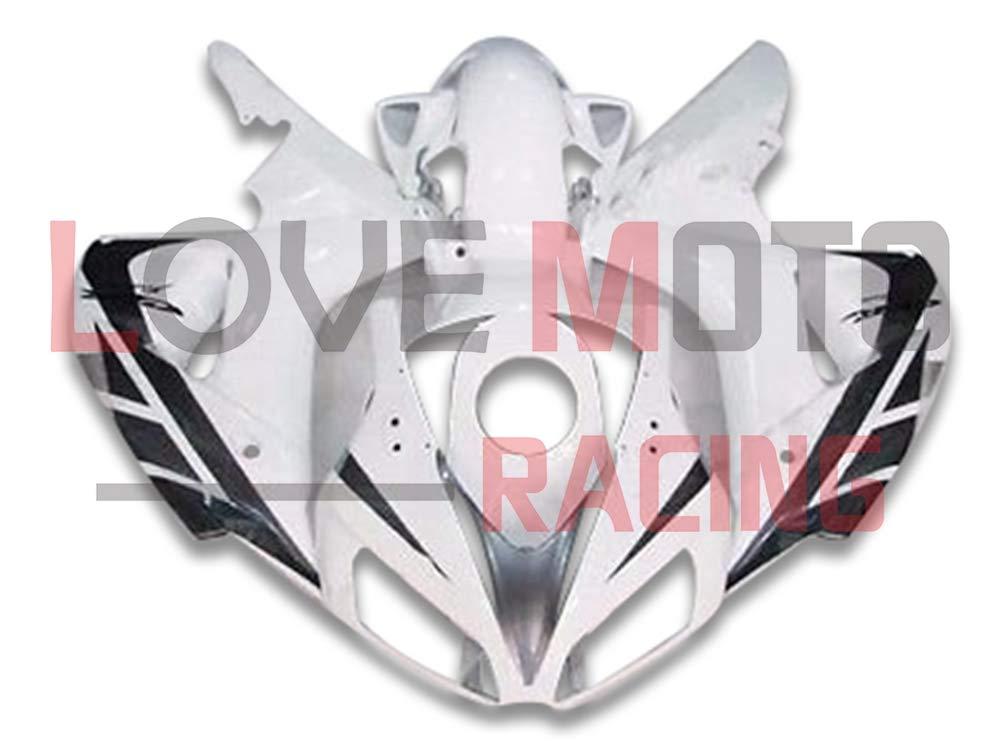 LoveMoto ブルー/イエローフェアリング ホンダ honda CBR1000 RR 2006 2007 06 07 CBR1000 RR ABS射出成型プラスチックオートバイフェアリングセットのキット ホワイト グレー   B07K8P34DH