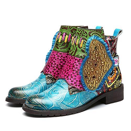 Gracosy-Bottines-Cuir-Femmes-Chaussures-de-Ville-Hiver-en-Cuir--Talons-Plats-Bottes-Plates-Printemps-Ete-Semelle-Confortable-Boots-Zip-Originales-Coloree