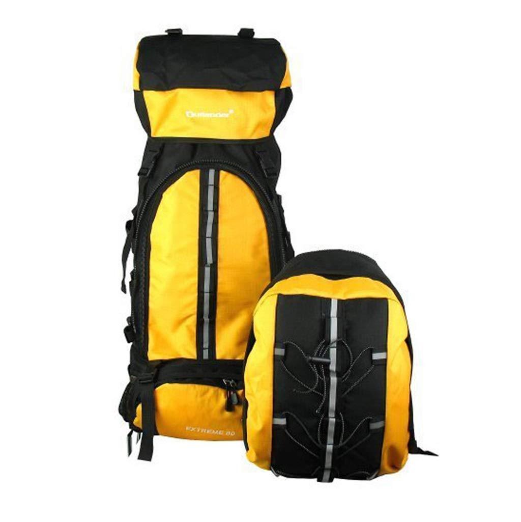 ALUP- ココ80Lコンビネーションプロスポーツバックパック、超軽量アルミフレーム防水ナイロンアウトドア登山バッグ、ハイキングキャンプスキー (色 : 黄)  黄 B07N38B14V