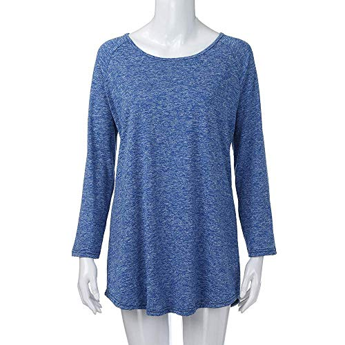 Casual Girocollo A Unita Lunghe Da Maniche Tinta T Donne Pullover Stretch Donna Blau Shirt Pieghe Tops Casuale Top Camicia FtSnxROqTR