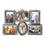 DecentHome 6 Opening Photo Collage Picture Frames Wall Hanging Vintage Style, Display 6-4X6, Antique Silver