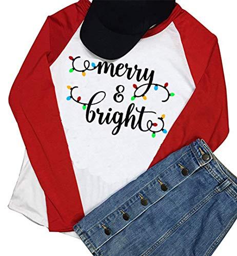 Merry and Bright Lights Tree Print T Shirt