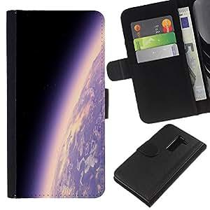 KLONGSHOP // Tirón de la caja Cartera de cuero con ranuras para tarjetas - Tierra del planeta Ambiente púrpura Universo Cosmos - LG G2 D800 //