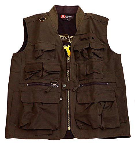 Kakadu Australia Traveller Multi Pocket Vest made from Oilskin Canvas -