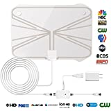 2018 Newest Best 60-100 Mile Long Range TV Antenna Freeview Local Channels Indoor Basic HDTV Digital Antenna for 4K 1080P with Ampliflier Signal Booster Strongest Reception 11.5ft Coax Cable