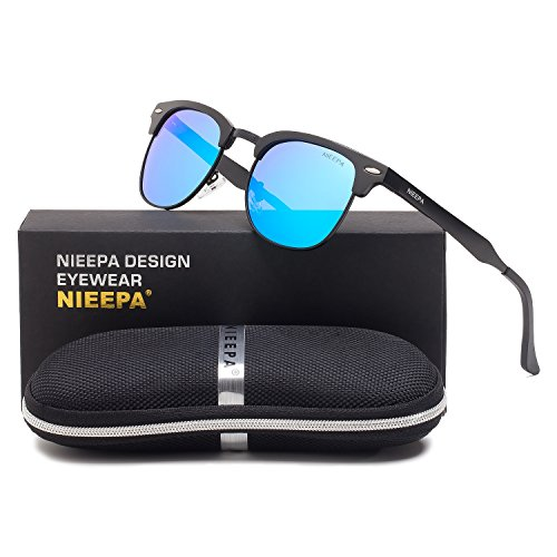 Semi Rimless Polarized Sunglasses Classic Aluminum Magnesium Frame Wayfarer Sun Glasses Men Women Vintage Brand Designer Half Frame Rivet Driving Glasses (Blue Lens/Black AL-MG Frame)