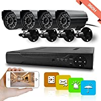Hi-Tech 960H DVR Home Security System (1) 4 Channel DVR Recorder with (4) 700 TVL Waterproof Surveillance Cameras for House/Apartment/Office