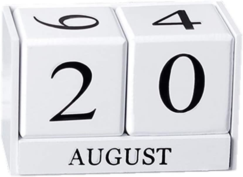 JIAEN Calendar Cube Wooden Month Date Display, 6 Inch Large Perpetual Desk Blocks Home Office Decoration Gift (White)