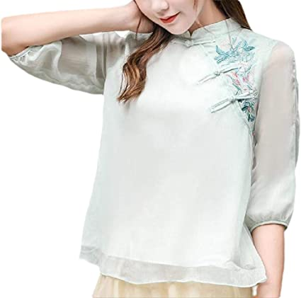 CYJ-shiba Blusa de Gasa para Mujer, Estilo Vintage, Tradicional Chino, con Botones de Mandarina - Multi - Large: Amazon.es: Ropa y accesorios