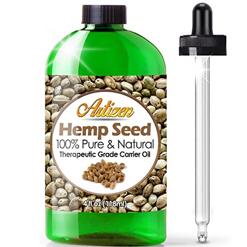 Artizen 100% Pure Hemp Seed Oil (Huge 4 OZ Bottle) All-Natural Hemp Oil - Cold Pressed - Perfect Moisturizer for Dry Skin - Extracted from Cannabis Sativa