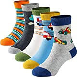 Boys' Crew Socks Kids Toddler Little Boys Fashion Seamless Cartoon Car Cotton Athletic Socks 5 Pairs Pack 3-5 Years