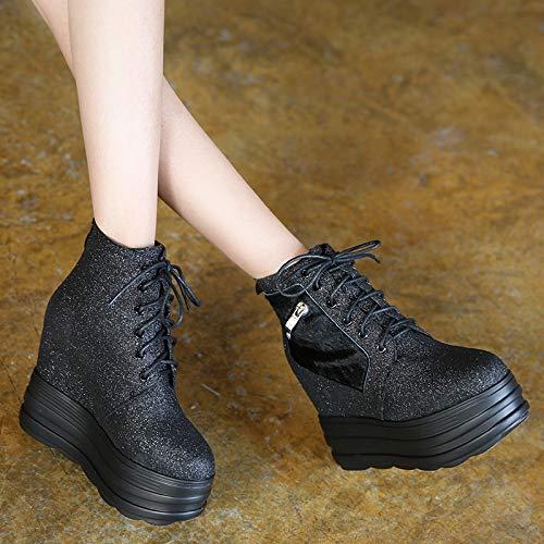 LBTSQ-Damenschuhe Riemen Dicken Sohlen Innere Höhen Stiefel Kurze Stiefel Höhen Super-High-Heels 12Cm Steigung Heels Einzelne Schuhe Martin Stiefel Mode d594ca
