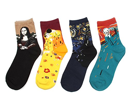 Mona Lisa,Starry Night,The Scream Art Patterned Casual Crew Socks (4 colors)