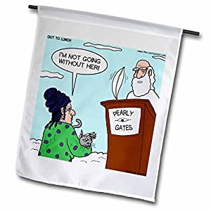Rich Diesslins Funny General Cartoons - Heaven - St. Peter and the Cat Lady - 18 x 27 inch Garden Flag (fl_8168_2)