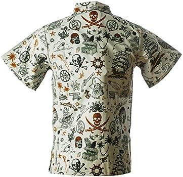 Size X-Large Pirate Grey Funny Guy Mugs Mens Pirate Hawaiian Print Button Down