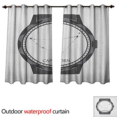 Anshesix Zodiac Capricorn Outdoor Balcony Privacy Curtain Greyscale Watch Dial Design with Horoscope Constellation Motif W96 x L72(245cm x 183cm)