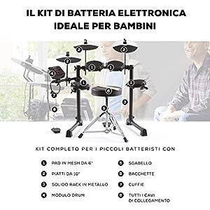 Alesis Debut Kit ? Batteria Elettronica per Bambini con 4 pad Elettronici in Mesh, 120 Suoni, Lezioni, Cuffie, Sgabello, Bacchette e Chiave Hardware