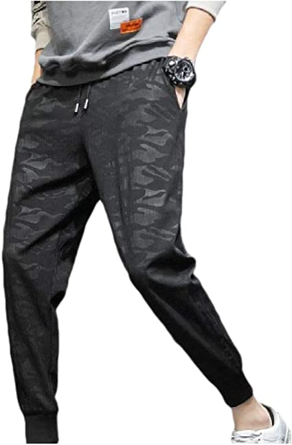 AngelSpace Men's Fashion Relaxed-Fit Beam Foot Mid Waist Dark Floral Casual Pants