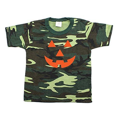 Halloween Pumpkin Face Toddler Short Sleeve T-Shirt Woodland Camo, 4T ()