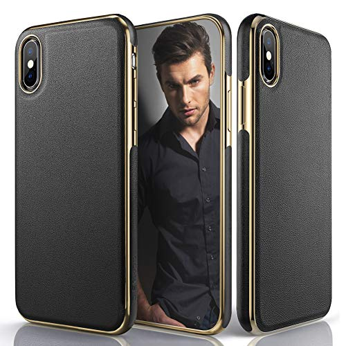 (LOHASIC Leather Case for iPhone Xs Max, Luxury Slim Fit Flexible Soft Full Body Grip Hybrid Bumper Shockproof Protective Cover Cases Compatible with Apple iPhone Xs Max (2018) 6.5 inch - Black)