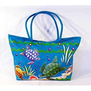 Amazon.com: Waterproof Jumbo Blue Canvas Beach Tote Bag Sea Turtle ...