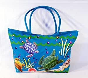 Waterproof Jumbo Blue Canvas Beach Tote Bag Sea Turtle Design Zipper Closure 24 x 15 x 6""