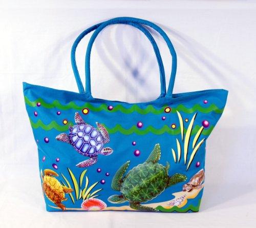 Waterproof Jumbo Blue Canvas Beach Tote Bag Sea Turtle Desig