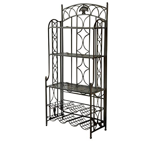 International Caravan Mandalay Bakers Rack in Antique Black (Racks Bakers Antique)
