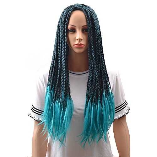 BERON Long Braided Fake Hair Wig for Halloween Anime Costume Cosplay Blue and Black Mixed -