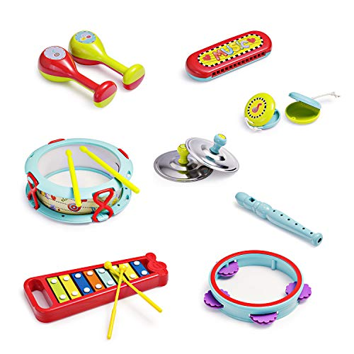 infunbebe Musical Instrument Set with Xylophone Toddler Band Set Musical Instruments for Early Development, Musical Toy with for Kids 15 PCS (Toddler Musical Instruments)