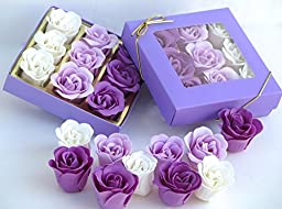 Mothers day Purple Rose Bath Bomb, Nine Colorful Charming Rose Scent Flowers in a purple gift box.