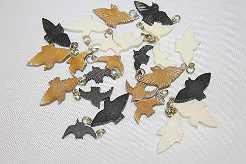 Hand Crafted Bone Beads - Pendant - Unique Carved Bone Bird - 12mm - Total 12 Pieces Per ()