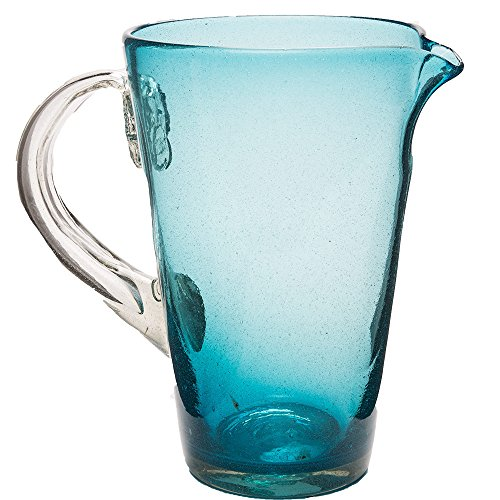 Bright Bubbled Recycled Glass Pitcher - Turquoise - 8.75 H x 6.25 diameter, 84 oz. capacity